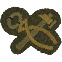 5-Pointed Star (Course Report Distinction) Black/White On Khaki Embroidered Army cloth trade badge