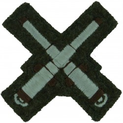 Crossed Cannons - Gunnery Instructor Small White On Khaki  Embroidered Army cloth trade badge