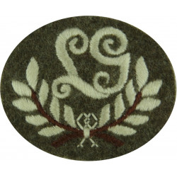 LG In Wreath - Light Machine Gun Marksman Small Copperplate  Embroidered Army cloth trade badge