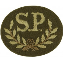SP In Wreath - Special Proficiency Large On Khaki  Embroidered Army cloth trade badge