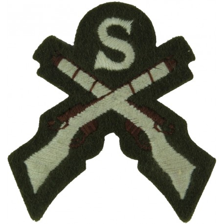 S Over Crossed Rifles (Sniper) Small On Khaki  Embroidered Army cloth trade badge