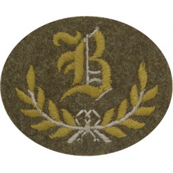 B In Wreath - B Class Tradesman - Guards Large Khaki  Embroidered Army cloth trade badge