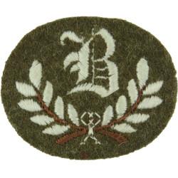 B In Wreath - B Class Tradesman Small On Khaki  Embroidered Army cloth trade badge