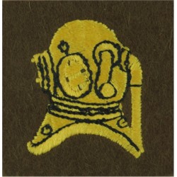 Diver's Helmet (Army Advanced Diver) On Khaki  Embroidered Army cloth trade badge