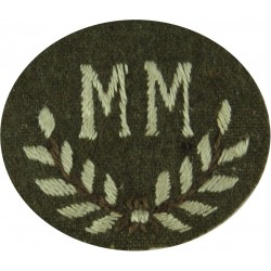B In Wreath - B Trades (Women's Royal Army Corps) Green On Beech Brown  Embroidered Army cloth trade badge