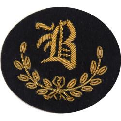 B In Wreath - B Class Tradesman - No.1 Dress Gold On Dark Blue  Bullion wire-embroidered Army cloth trade badge