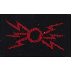 Circle With Lightning Flashes - Small Red On Blue  Embroidered Army cloth trade badge