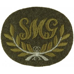 SMG In Wreath - Sub-Machine Gun - Guards Large Khaki  Embroidered Army cloth trade badge