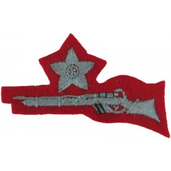 Star / Single Rifle (Cadet .303 Rifle 1st Class Shot FL: Large Grey / Red  Embroidered Army cloth trade badge