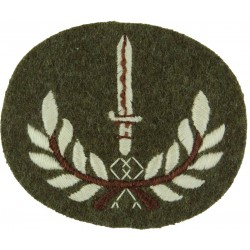 Bayonet In Wreath (Class 1 Infantry Soldier) Large White On Khaki  Embroidered Army cloth trade badge