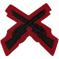 Crossed Rifles (Marksman - 2nd KEO Gurkha Rifles) Black On Red - Small  Embroidered Army cloth trade badge