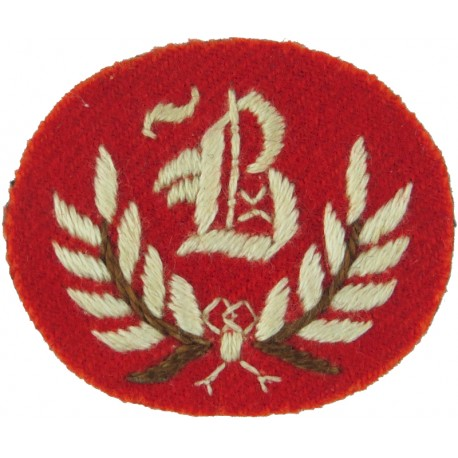 B In Wreath - B Trades (Duke Of Wellington's Regt) Small - White On Red  Embroidered Army cloth trade badge