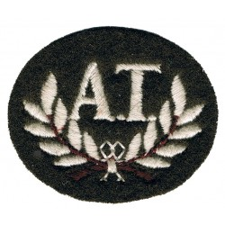 AT In Wreath (Anti-Tank Gunner) Small White On Khaki  Embroidered Army cloth trade badge