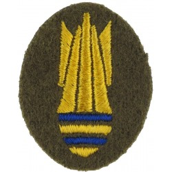 Bomb (Bomb Disposal Trade Badge) - Small Yellow/Blue On Khaki  Embroidered Army cloth trade badge