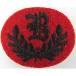 B In Wreath - B Trades (2nd KEO Gurkha Rifles) Small Black On Red  Embroidered Army cloth trade badge