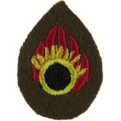 Flaming Circle - Ammunition Technical Officer Small On Khaki  Embroidered Army cloth trade badge