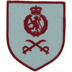 Crossed Swords & WRAC Badge (PTI) - Red On White Vest Badge - Shield with Queen Elizabeth's Crown. Embroidered Army cloth trade