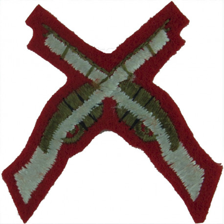 Crossed Rifles (Marksman - Duke Of Wellington's Regt Small White On Red  Embroidered Army cloth trade badge