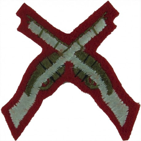 Crossed Rifles Over 'Bisley 1990' (White Lettering) On Khaki Embroidered Army cloth trade badge