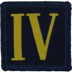 King's Own Royal Border Regiment - 38mm Square Yellow IV On Blue  Woven Regimental cloth arm badge