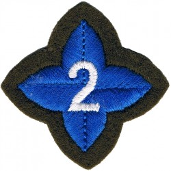 4-Pointed Blue Star On Khaki - Numeral 2 In Centre ACF Post-1974 Award  Embroidered Army cloth trade badge