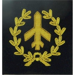 Aircraft Spotter Class I. RA (Plane In Wreath) Gold On Navy Blue  Bullion wire-embroidered Army cloth trade badge
