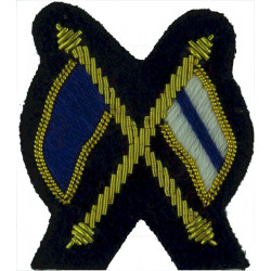 Crossed Flags (Signaller) - Mess Kit Small - On Navy Blue  Bullion wire-embroidered Army cloth trade badge