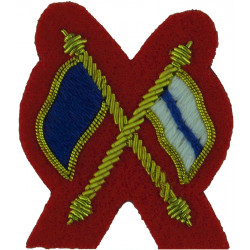 Crossed Flags (Signaller) - Mess Kit Small - On Scarlet  Bullion wire-embroidered Army cloth trade badge