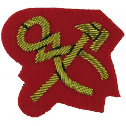 Crossed Hammer & Pincers - Mess Kit Small - On Scarlet  Bullion wire-embroidered Army cloth trade badge