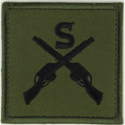 S Over Crossed Rifles (Sniper) Black On Olive Green  Embroidered Army cloth trade badge