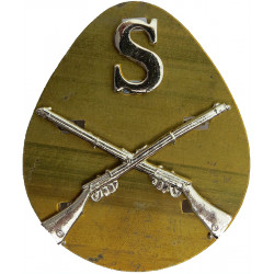 S Over Crossed Rifles - Sniper Gold Colour  Anodised Army metal trade badge