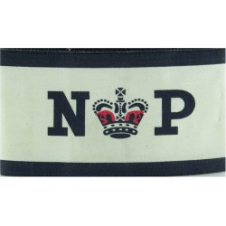 Royal Navy Provost Cuff Band (Crown Between NP) Blue On White with Queen Elizabeth's Crown. Printed Arm-Band or Brassard