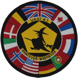 VASF 47 (Witch On Broomstick Surrounded By 11 Flags) RAF Gutersloh  Woven Air Force Badge