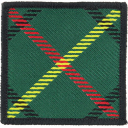 Royal Scots Tartan Patch - Red Down From Top-Left Hunting Stuart 60mm  Woven Regimental cloth arm badge