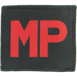 Royal Military Police Armbadge - Merrowed Edge Red MP On Black  Woven Regimental cloth arm badge