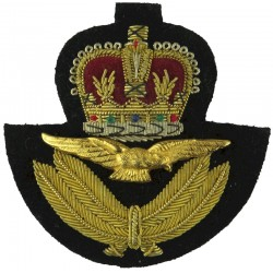 Royal Air Force Officers' Service Dress Cap Badge With Black Backing with Queen Elizabeth's Crown. Bullion wire-embroidered Air