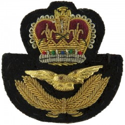 Royal Air Force Officers' Beret Badge With Black Backing with Queen Elizabeth's Crown. Bullion wire-embroidered Air Force Badge