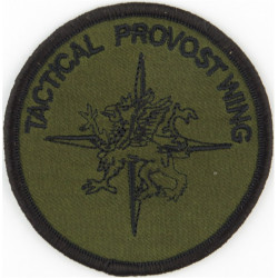 RAF Police Tactical Provost Wing Black On Olive  Embroidered Air Force Badge