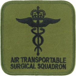 612 Squadron RAF Air Transportable Surgical Squadron Black On Olive with Queen Elizabeth's Crown. Embroidered Air Force Badge