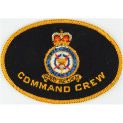 RAF Strike Command - Command Crew Crest On Oval with Queen Elizabeth's Crown. Embroidered Air Force Badge