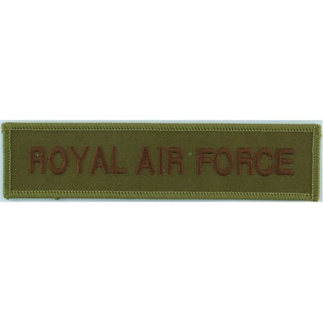 Royal Air Force - Words - Chest Title Brown On Sand  Embroidered Air Force Badge