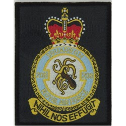 206 Squadron Royal Air Force (RAF Kinloss) Rectangle Nimrod Squadron with Queen Elizabeth's Crown. Woven Flying Suit Crest