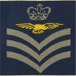 Flight Sergeant Aircrew - Eagle FR Slip-On Rank Badge with Queen Elizabeth's Crown. Woven Air Force Rank Badge