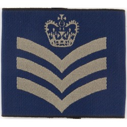 Flight Sergeant Slip-On Rank Badge with Queen Elizabeth's Crown. Woven Air Force Rank Badge