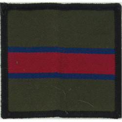 King's Regiment - 72mm Square Green/Blue/Maroon  Woven Regimental cloth arm badge