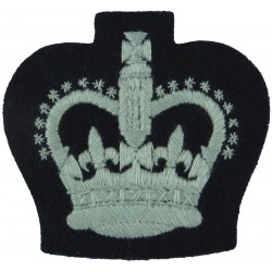 Air Training Corps Adult Warrant Officer Rank Crown On Dark Blue Post-72 with Queen Elizabeth's Crown. Embroidered Air Force Ran