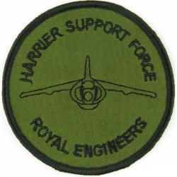 Royal Engineers Harrier Support Force Black On Olive Disc  Embroidered Regimental cloth arm badge
