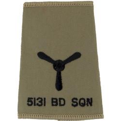 5131 Bomb Disposal Sqn Senior Aircraftman Rank Slide Black On Sand  Embroidered Air Force Rank Badge