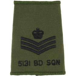 5131 Bomb Disposal Sqn Flight Sergeant Rank Slide Black On Olive Green with Queen Elizabeth's Crown. Embroidered Air Force Rank