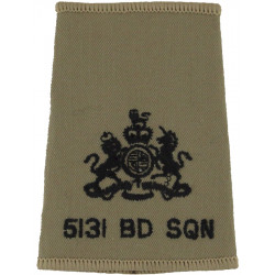 5131 Bomb Disposal Sqn Warrant Officer Rank Slide Black On Sand with Queen Elizabeth's Crown. Embroidered Air Force Rank Badge